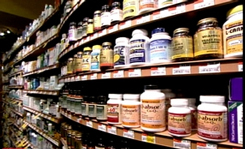 multivitamin selection on the shelf in the grocery store